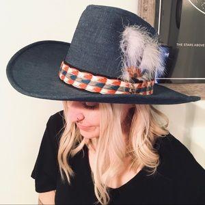 Vintage Hushpuppies Denim Cowboy Feather Hat